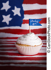 July 4th Cupcake - A Cupcake with a July 4th Flag on an...