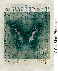 Calligraphy Butterfly - Mixed medium image of a butterfly...