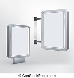 billboard and lightbox on white background - vector blank...