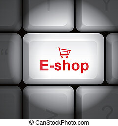 e-shop concept with computer keyboard - message on keyboard...