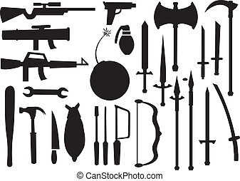 Vector illustrations of Different Tools and Weapons - Black...