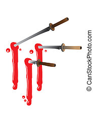 Ninja swords with blood - 3 Ninja swords stab with blood...