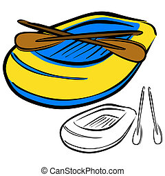 Inflatable boat - Vector illustration : Inflatable boat...