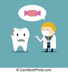Doctor of dentist teaching the tooth not to eat candy