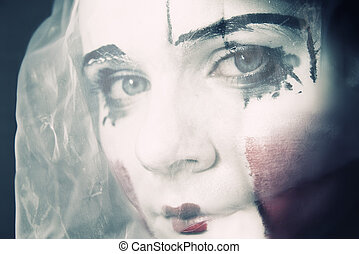 sad mime in a veil - Portrait of the sad mime in a veil