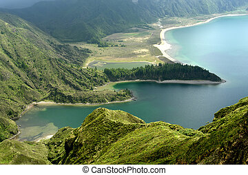 lake - the lake of fire in azores island of sao miguel...