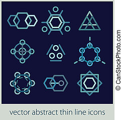 ector set of abstract  thin line icons design style