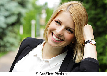 Portrait of a beautiful cheerful woman