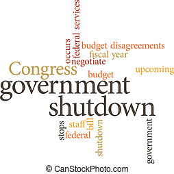 government shutdown - illustration of the word government...