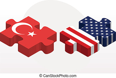 USA and Turkish Flags in puzzle