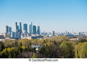 Moscow city skyline afternoon