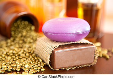 Closeup of natural handmade soaps. Chocolate and lavender