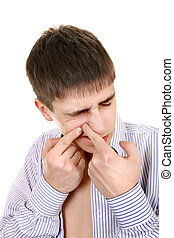 Teenager with Pimple Isolated on the White Background