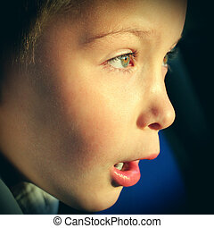 Surprised Kid Face with Opened Mouth closeup