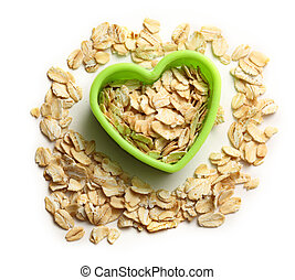 Rolled oats in heart form - Rolled oats in green heart form