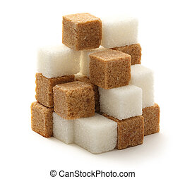 Sugar cubes - Cane and white sugar cubes