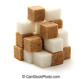 Sugar cubes - Cane and white sugar cubes