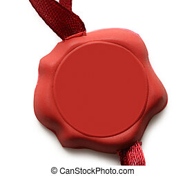 Blank red sealed badge on white