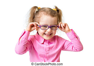 Funny happy girl in glasses isolated on white