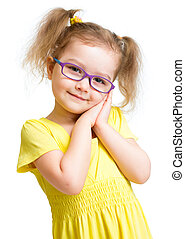 Adorbale child in glasses isolated on white