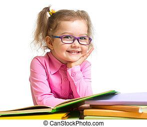 sentando, ÓCULOS, LIVROS, criança, tabela, sorrindo,...