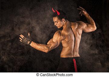 Shirtless, gespierd, mannelijke, bodybuilder, geklede,...