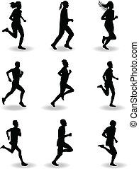 runner silhouette vector - group of man and woman runers...