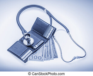 Checking cost of health care - Checking open wallet with...