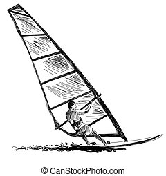 Windsurfing sketch Vector EPS 10 illustration without...