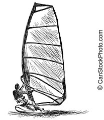 Windsurfing sketch. Vector EPS 10 illustration without...
