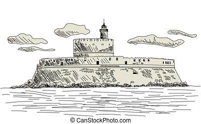 Rhodes ancient fort. EPS 10 vector sketch illustration...