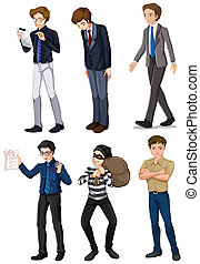 Six men with different works - Illustration of the six men...