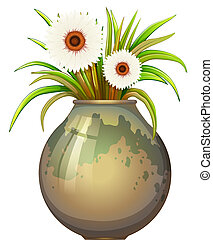 A flowering plant in a big pot - Illustration of a flowering...
