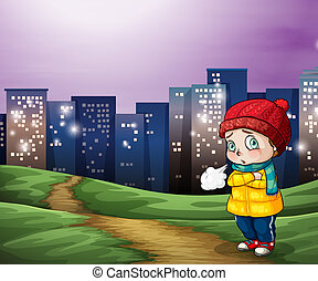 A young child across the tall buildings in the city