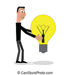 Man with the bulb - Illustration (vector) of a man that is...