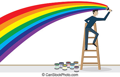 Paintbrush, Paint Roller - Illustration (vector) of a man is...