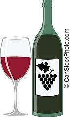 Wine bottle and glass - Illustration (vector) of a wine...