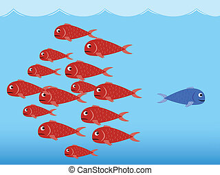 Blue and red fishes - Illustration (vector) of red and blue...