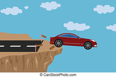 Crash car with man - Illustration (vector) of a red car that...