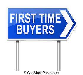 First time buyer concept - Illustration depicting a sign...
