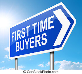 First time buyer concept. - Illustration depicting a sign...