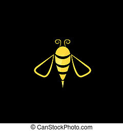 vector golden bee icon on black background - vector golden...
