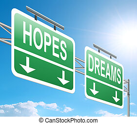 Hopes and dreams concept. - Illustration depicting a sign...