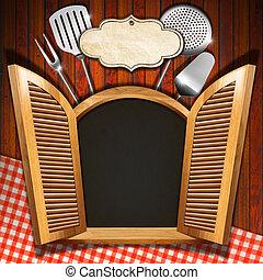 Restaurant Menu on Wooden Window - Wooden window (inside...