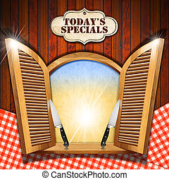 Todays Specials - Menu on Wooden Window - Wooden window with...