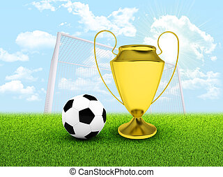 Soccer ball, gate and gold cup in the field