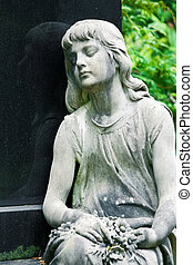 The stone Girl on Tomb from the old Cemetery, parish of Mary...