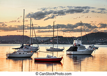 Yachts at Saratoga NSW Australia - Closeup of yachts moored...