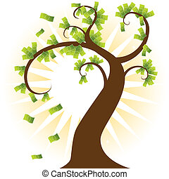Money Tree - A large tree with sunshine background growing...