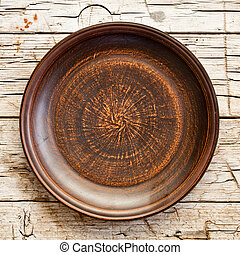 empty brown ceramic plate